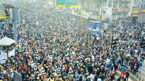 A file photograph of people protesting against the Citizenship Amendment Act in Kanpur. (PTI)