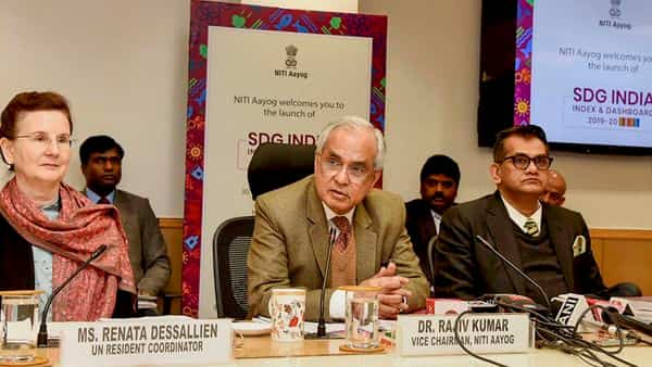 Niti Aayog Vice-Chairman Rajiv Kumar addresses during the launch of the SDG India Index and Dashboard 2019-20, in New Delhi. CEO, Niti Aayog Amitabh Kant and United Nations Resident Coordinator in India, Renata Lok-Dessallien are also seen (Photo: PTI)