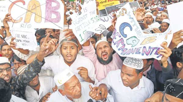 A protest against the CAA in Kolkata. Photo: Getty images
