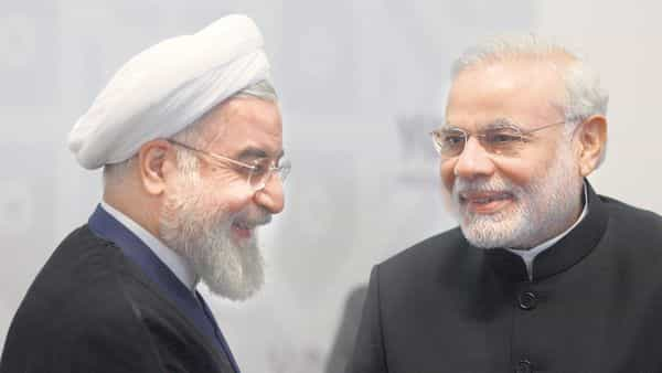 A file photo of Prime Minister Narendra Modi with Iranian President Hassan Rouhani.afp