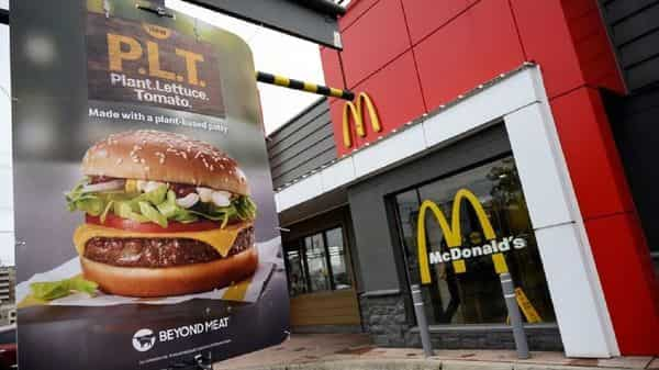 A sign promoting McDonald's PLT burger with a Beyond Meat plant-based patty at one of 28 test restaurant locations in London, Ontario, Canada. (Reuters)