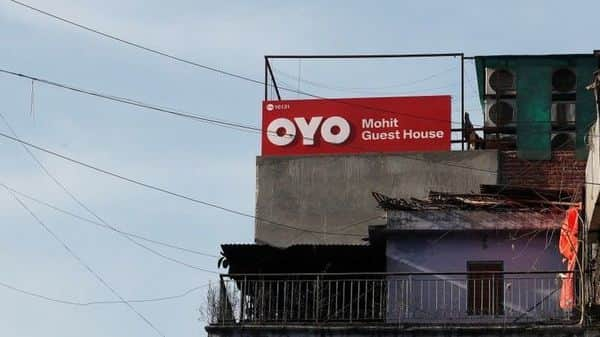 The logo of OYO, India's largest and fastest-growing hotel chain, is seen installed on a hotel building in New Delhi. (REUTERS)