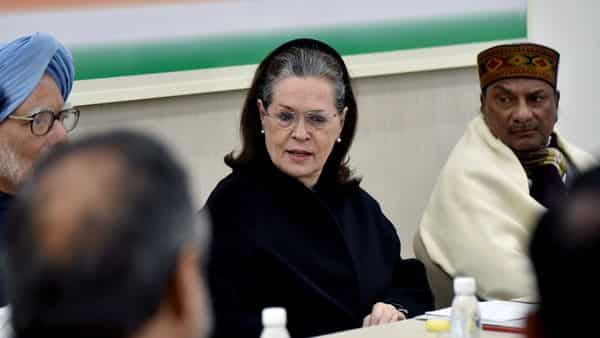 Congress president Sonia Gandhi along with former Prime Minister Manmohan Singh, senior Congress leader AK Antony during Congress Working Committee (CWC) meeting at AICC HQ in New Delhi on Saturday (Photo: ANI)