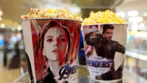 Popcorn buckets with Avengers images are seen during a premiere of 'The Avengers: Endgame'.