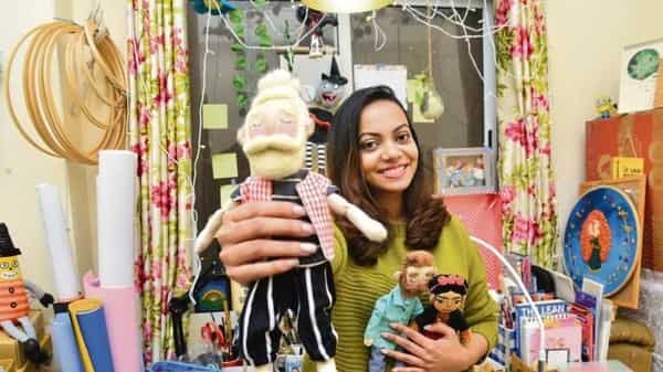 Swathy Sivram of IIM Lucknow-Noida campus creates customized dolls. (Photo: Ramesh Pathania/Mint)