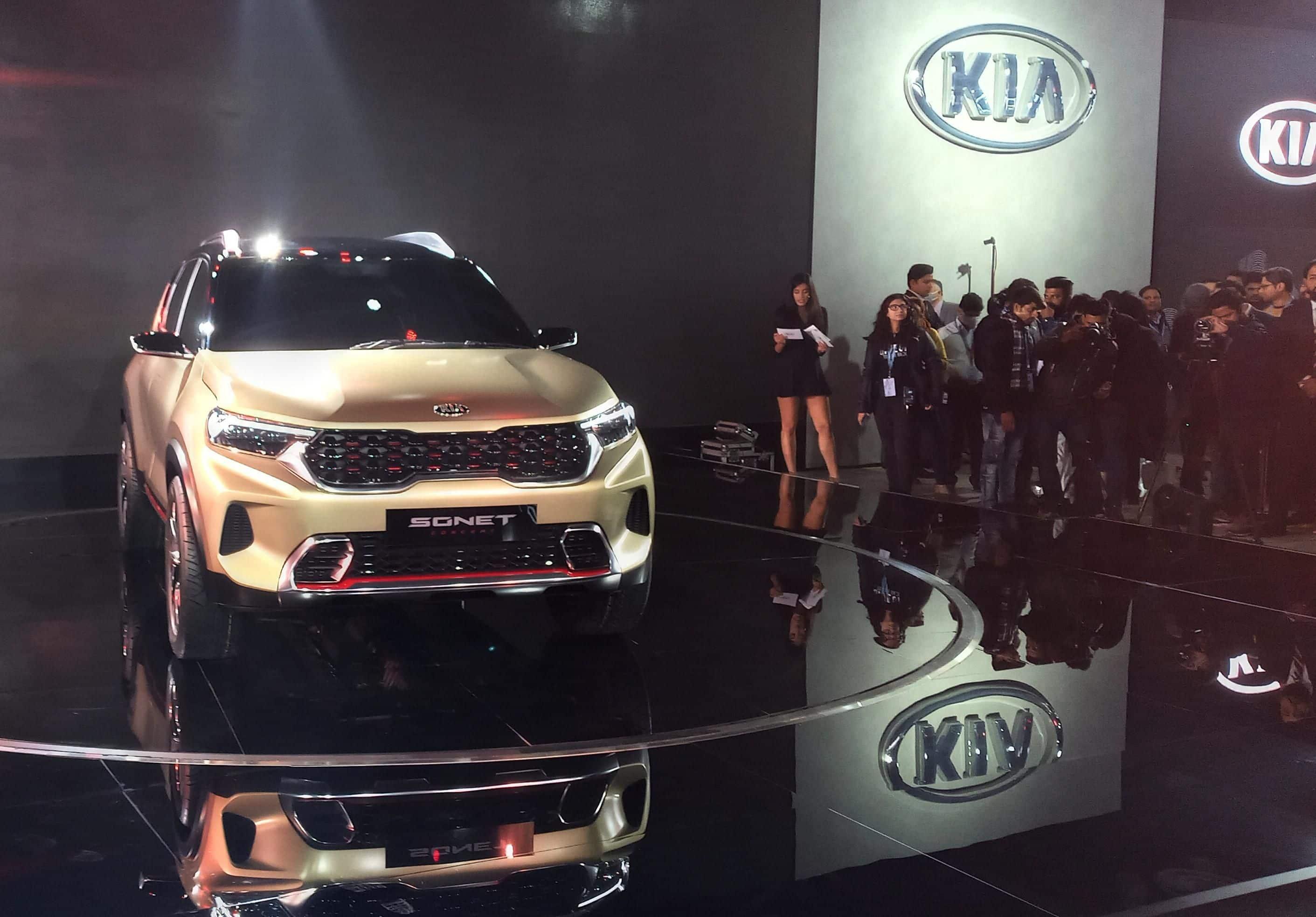 The new Kia Sonet revealed at the Auto Expo 2020