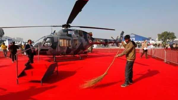 Hindustan Aeronautics Limited (HAL) 's light utility helicopter displayed at the Defense Expo in Lucknow, Photo: AP (AP)