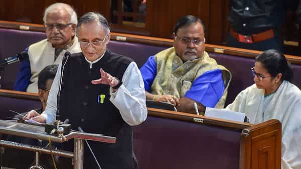 West Bengal Finance Minister Amit Mitra presents the State Budget for 2020-21 in the State Assembly in Kolkata (Photo: PTI) (PTI)