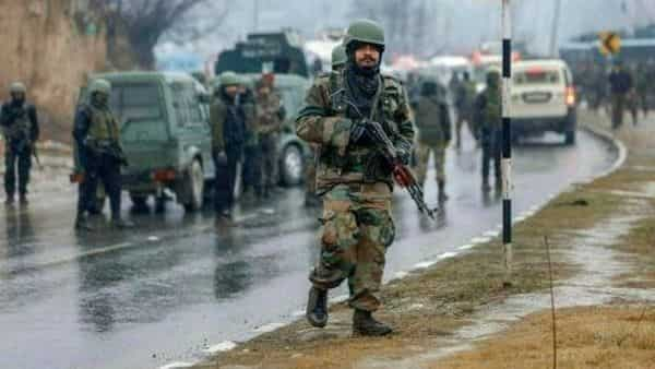 Army soldiers near the site of suicide bomb attack at Awantipora in Pulwama district of Jammu and Kashmir  (S. Irfan/PTI)