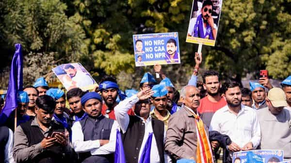 Supporters of Bhim Army hold placards during a protest march, in New Delhi on Sunday (Photo: ANI)