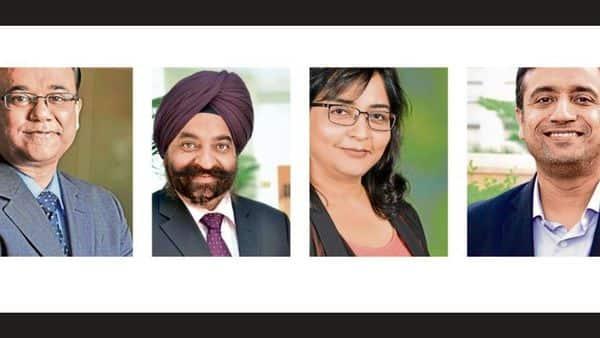 From left) Chandresh Nigam of Axis Mutual Fund, DP Singh of SBI Mutual Fund, Renu Maheshwari of Finscholarz Wealth Managers, Renu Maheshwari of Finscholarz Wealth Managers, Gaurav Rastogi of Kuvera.in