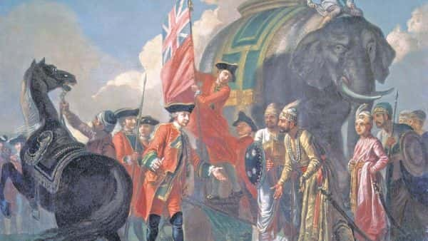 'Robert Clive And Mir Jafar After The Battle Of Plassey, 1757' by Francis Hayman. wikimedia commons