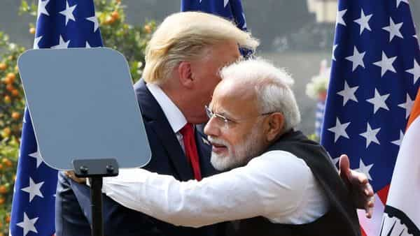 Prime Minister Narendra Modi hugs US President Donald Trump during the joint press statement, at Hyderabad House in New Delhi (Photo: ANI)