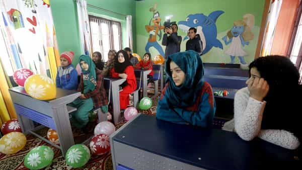 Students attend classes in a smart school developed by the Jammu and Kashmir government as part of the Srinagar smart city project in Srinagar (ANI )
