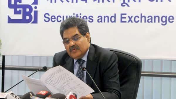 SEBI chief Ajay Tyagi during a press conference.