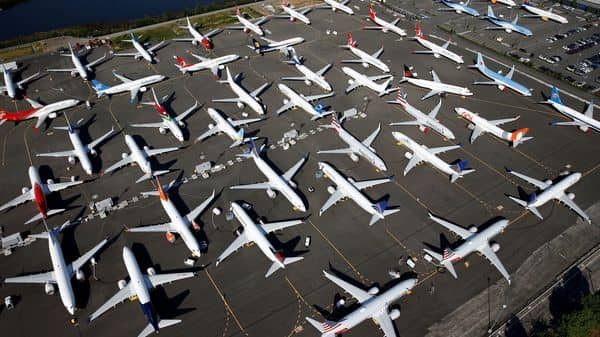 Dozens of grounded Boeing 737 MAX aircraft are seen parked in an aerial photo at Boeing Field in Seattle, Washington. (REUTERS)