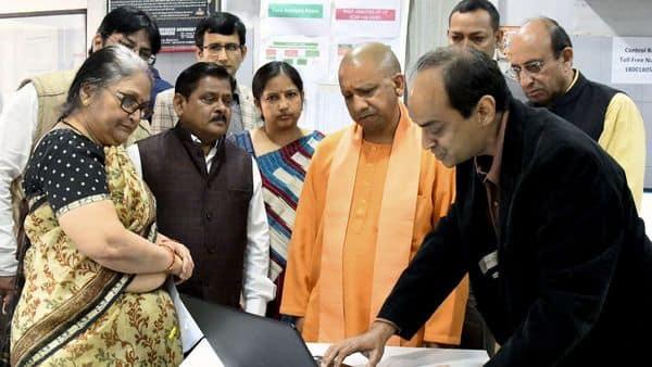 Uttar Pradesh Chief Minister Yogi Adityanath during the inspection of the coronavirus control room at DG Health office in Lucknow on Monday. (ANI Photo)