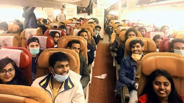263 Indian students and compassionate cases departed for India by special Air India flight from Rome, on Sunday. (ANI Photo)