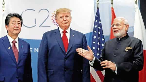 (From left): Japanese PM Shinzo Abe, US President Donald Trump and PM Narendra Modi at the G20 leaders summit in Buenos Aires, Argentina in November 2018. (Reuters)