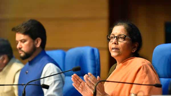 Union Finance Minister Nirmala Sitharaman addressing a press conference to announce a  ₹1.7 lakh crore Gareeb Kalyan Yojana to help the poor in the view of the coronavirus lockdown (Phoo: PTI)