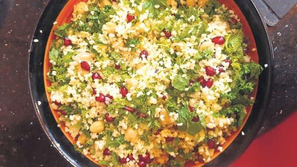 Healthy and colourful—dalia with pomegranate and chickpeas. Samar Halarnkar