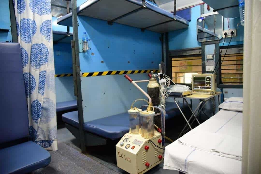 Each cabin of the coach has been converted into an independent isolation ward.