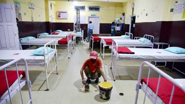 Workers prepare an Isolation Ward at Civil Hospital during a government-imposed nationwide lockdown in Assam. (ANI)