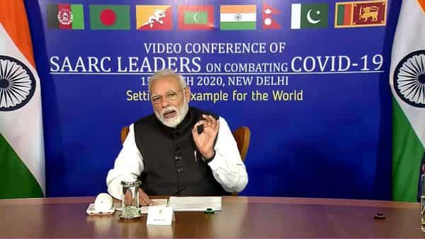 Prime Minister Narendra Modi interacts with members of SAARC countries via video conferencing over COVID-19 (ANI)