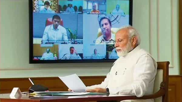 Prime Minister Narendra Modi takes stock of the covid-19 situation in the country at a meeting with MPs. (twitter@ani)