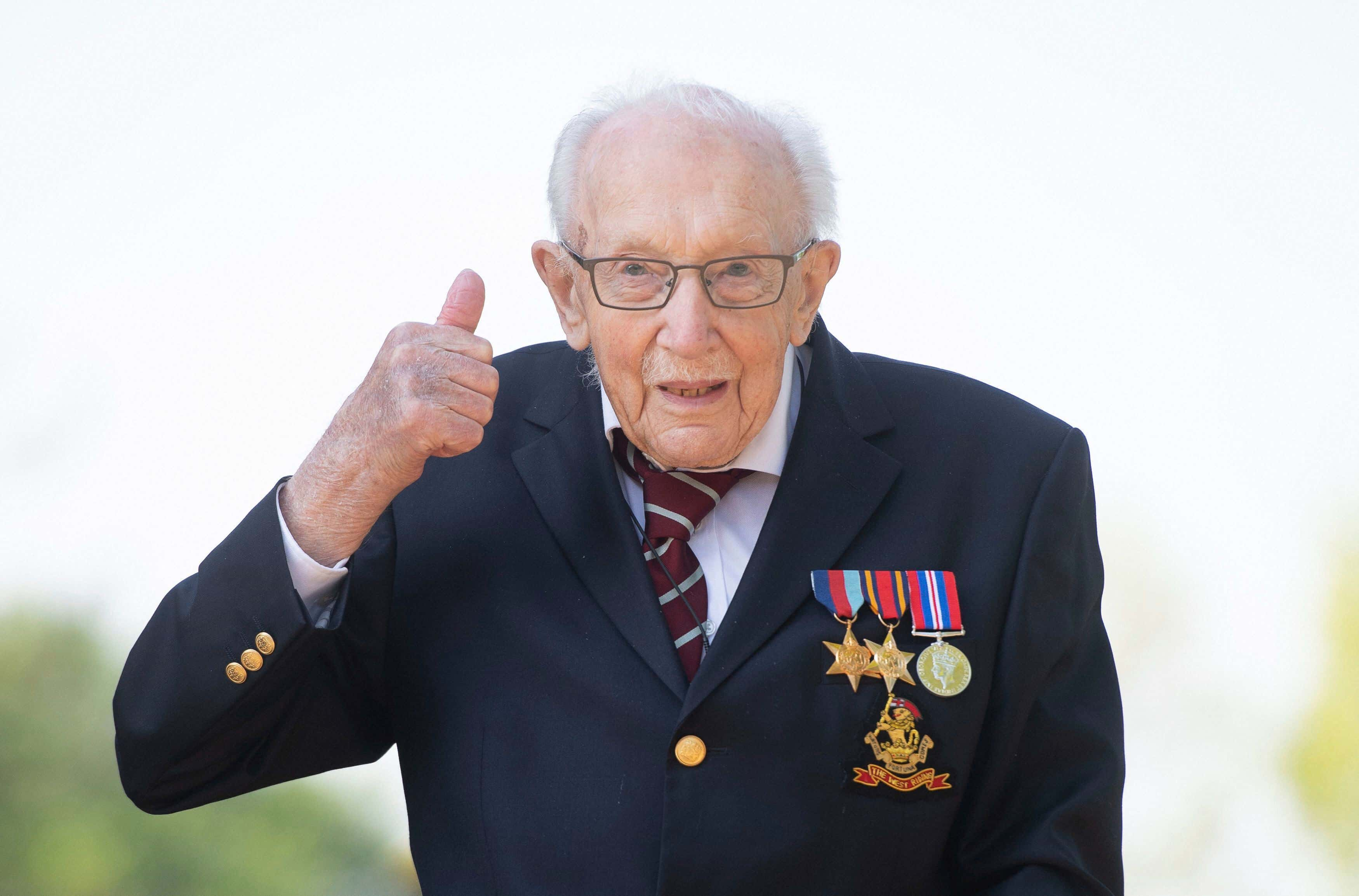 Marston Moretaine: 99-year-old war veteran Captain Tom Moore, poses for a photo at his home in Marston Moretaine,