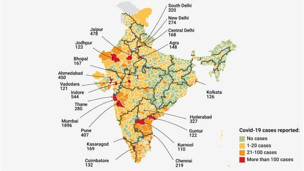 Total number of coronavirus cases reported in India.