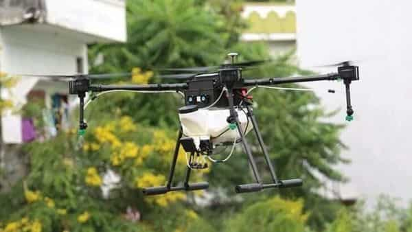 Marut Dronetech is working with the government of Telangana to deploy drones for public safety application and (inset) Jeevan Lite, the low-cost ventilator developed by an IIT Hyderabad-incubated startup.