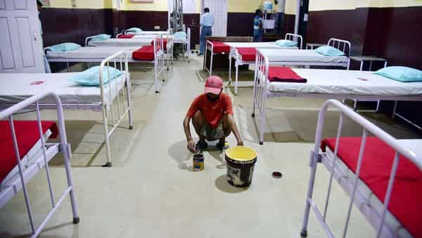 Workers prepare an Isolation Ward at Civil Hospital during a government-imposed nationwide lockdown as a preventive measure against the COVID-19 coronavirus, in Nagaon District of Assam.