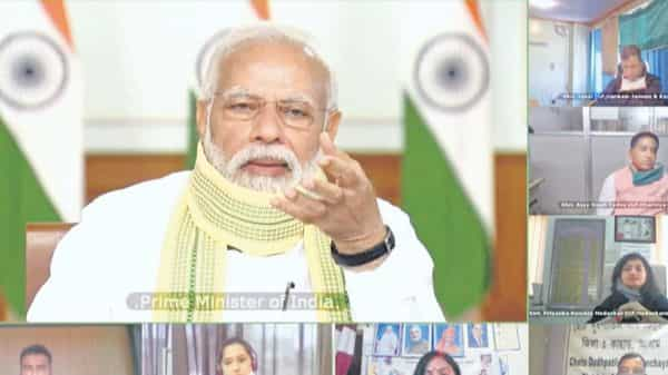 Citizens must strive to strengthen the panchayat system and work towards making villages, districts, states, and ultimately the country become self-reliant, Prime Minister Narendra Modi said in a video interaction with sarpanches on Friday.  (Photo: PTI)