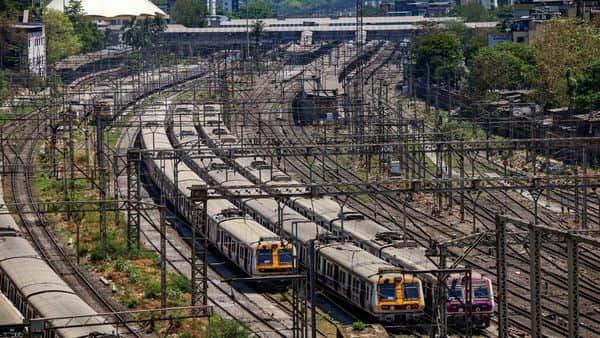 Trains are seen parked at a yard after lockdown in the wake of coronvirus pandemic, in Mumbai. (PTI)