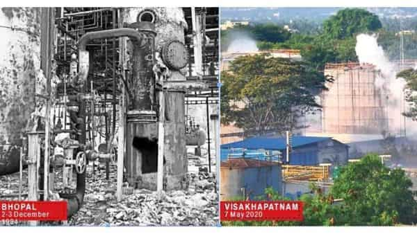 (Right) Vapour billows out from an LG Polymers plant after styrene gas leaked killing 11 people in RR Venkatapuram village of Visakhapatnam district in Andhra Pradesh on Thursday. The accident was reminiscent of the Bhopal gas tragedy (left) in 1984 when thousands of people died following a gas leak at a pesticide plant owned by US chemical firm Union Carbide .