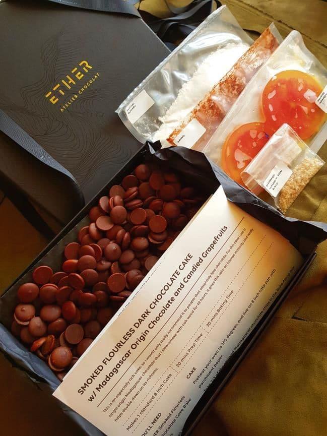 A DIY bake-along kit for smoked flourless dark chocolate cake at Ether Atelier Chocolat, Mumbai.