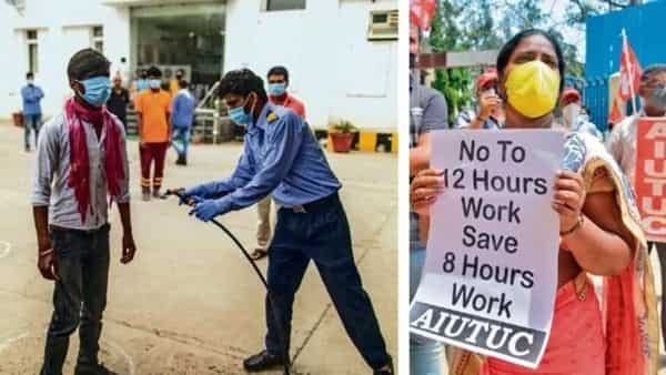 (Left) A security guard sprays a worker with disinfectant as his colleagues use social distancing markers at the entrance to a factory in Sonipat, Haryana, and a trade union activists take part in a protest, which took place near the labour department in Bengaluru, against the increase in working hours of employees in various industrial sectors.