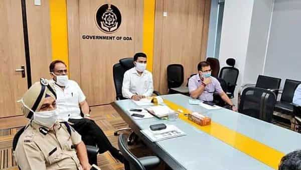 Chief Minister of Goa Pramod Sawant attends video conference meeting of Chief Ministers with Prime Minister Narendra Modi, on COVID-19 situation, in Panaji. (ANI)