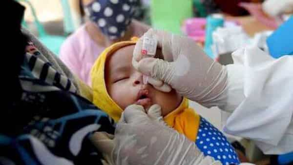 A baby receives a polio vaccination at a community health center in Indonesia. (AP)