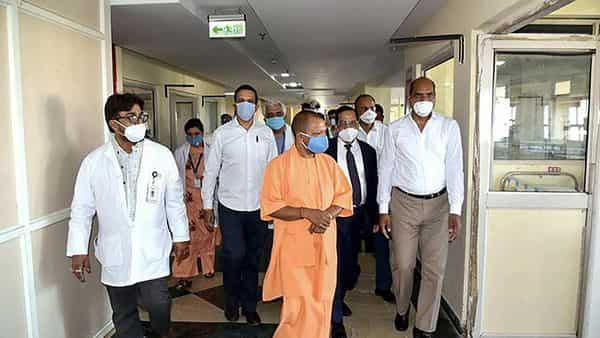 File Photo: Uttar Pradesh Chief Minister Yogi Adityanath inspects the isolation ward set up at Sharda Hospital in Greater Noida. (PTI)