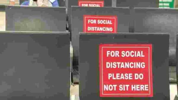 At the waiting lounge of the Pune airport, middle seats reserved to enforce social distancing norms. Seating at terminals will now be rearranged so that there is a 1-1.5 metre distance between passengers. Seating zones will be created in the security hold so that every alternate seat is free for departing passengers, with the area frequently cleaned and sanitized.