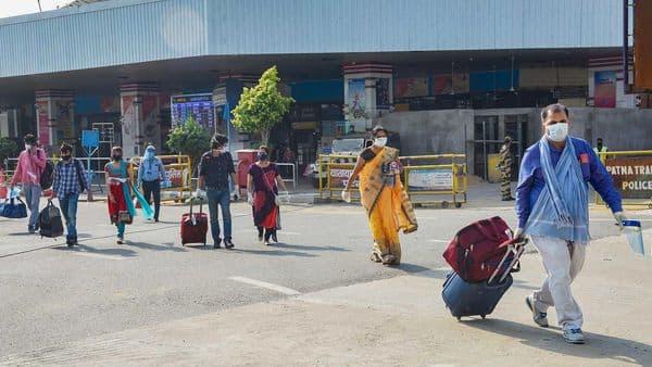 Patna: Air passengers arriving from Delhi leave the the Jai Prakash Narayan International Airport, during ongoing COVID-19 lockdown, in Patna, Thursday. (PTI)