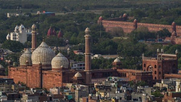 New Delhi: A view of Jama Masjid, Gauri Shankar Mandir and Shri Digambar Jain Lal Mandir, during ongoing COVID-19 lockdown, in New Delhi, Saturday, May 30,  (PTI)