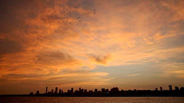 The skyline during sunset, amid the ongoing COVID-19 lockdown, in Mumbai. (PTI)