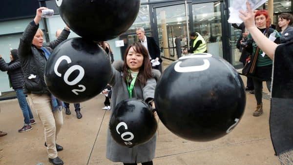 (file photo) Activists protest against the carbon dioxide emissions  (Reuters)