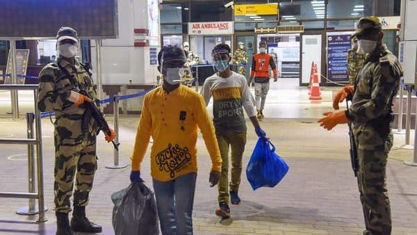 Patna: Migrants traveling from Delhi arrive at Jai Prakash Narayan International airport during ongoing COVID-19 lockdown. (PTI)