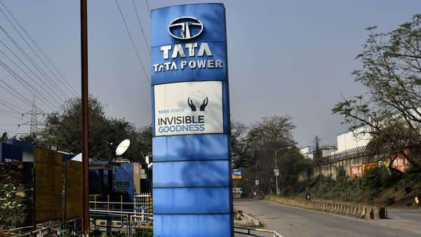 Signage for Tata Power Co. stands in Jamshedpur.  (Bloomberg )