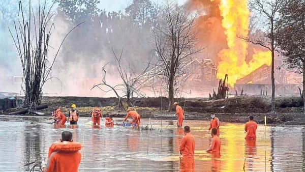 Two firefighters have died and over 3,000 people evacuated from a fire at an Oil India natural gas well in Assam's Tinsukia district