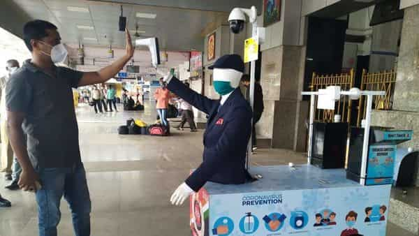 The robot is launched to screen passengers while they board trains and keep a watch on anti-social elements.